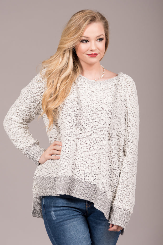 Warming Up Sweater in Grey/Ivory
