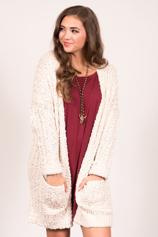 Stay the Night Cardigan in Ivory