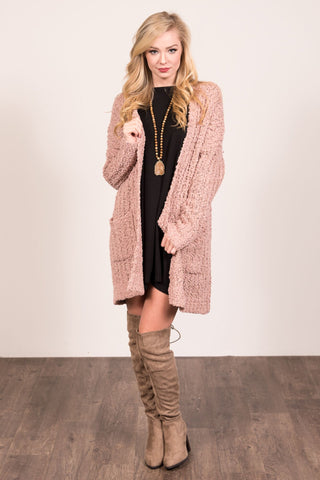 Stay the Night Cardigan in Pink