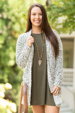Stay the Night Cardigan in Black/Beige