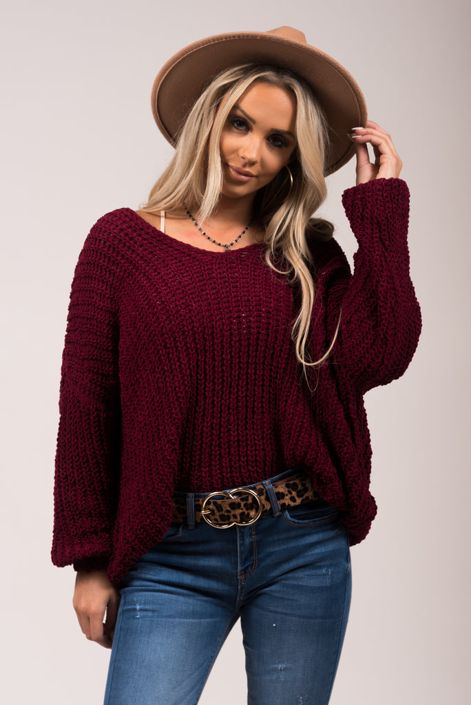 Let It Snow Sweater in Wine