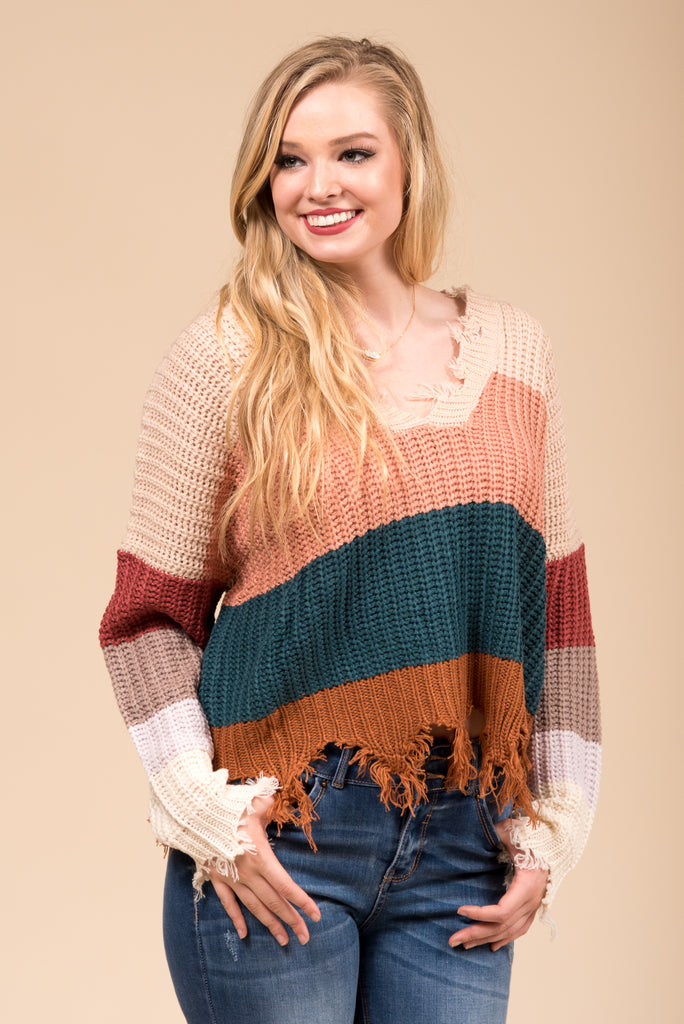 Over The Rainbow Sweater in Beige
