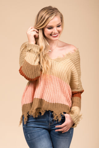 Over The Rainbow Sweater in Taupe