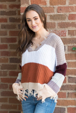 Over The Rainbow Sweater in Mocha