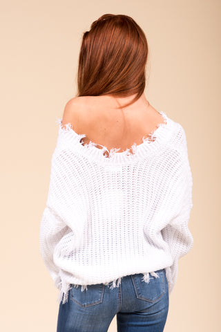 Over The Moon Sweater in White