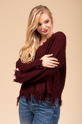 Over The Moon Sweater in Burgundy