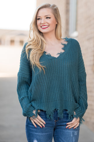 Over The Moon Sweater in Teal