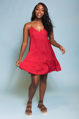 Sky High Dress in Crimson