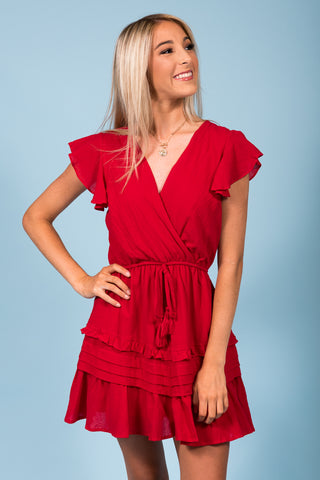 Heart Flutters Dress in Red