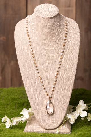 Claire Necklace in Crystal & Cream
