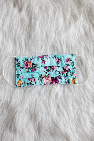 Face Mask - Turquoise Floral
