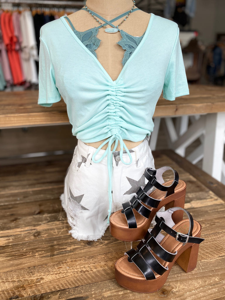 Ruched Crop Top in Mint
