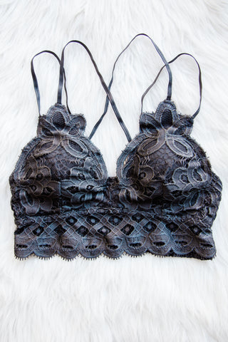 Amazing Lace Bralette in Dark Grey
