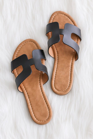 Walkin' On Sunshine Sandals in Black