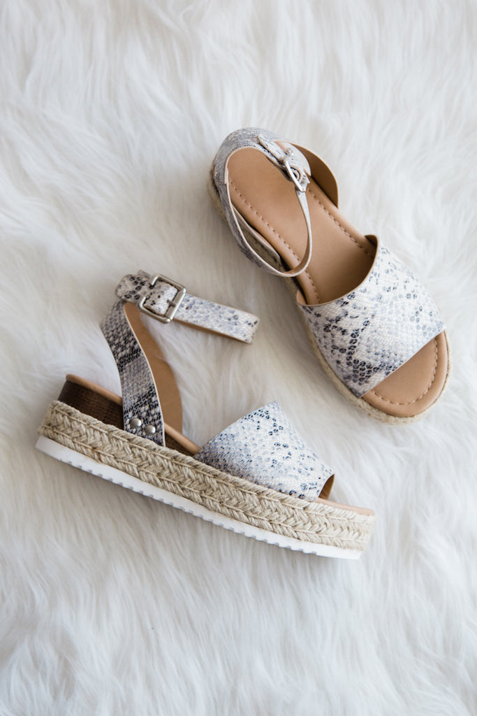 Aloha Life Sandals in Beige Python