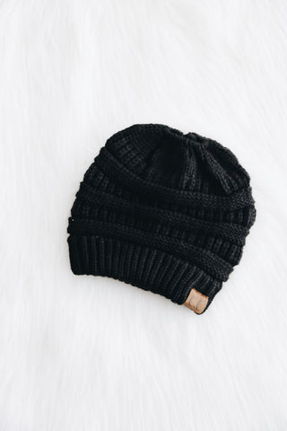 Messy Bun CC Beanie in Black