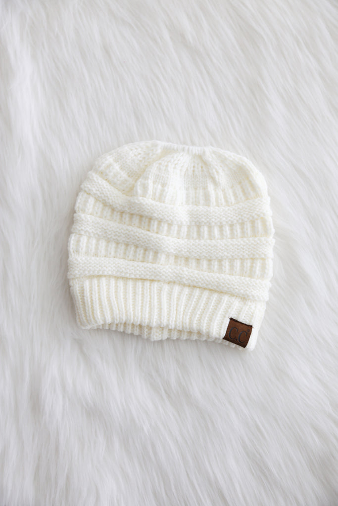 Messy Bun CC Beanie in Ivory