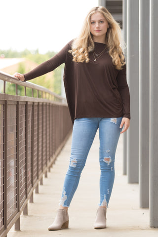 Piko Perfect Top in Dark Brown