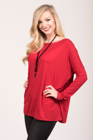 Piko Perfect Top in Dark Red