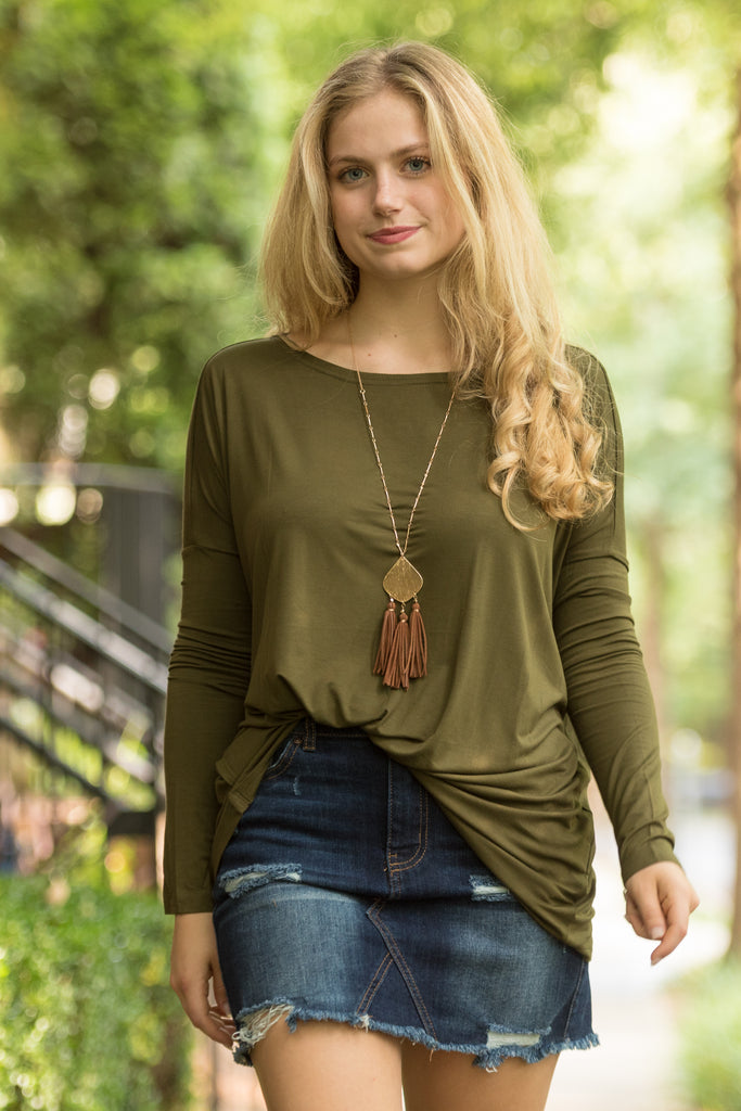 Piko Perfect Top in Hunter Green