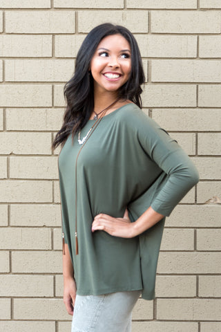 Piko Perfect 3/4 Sleeve Top in Army