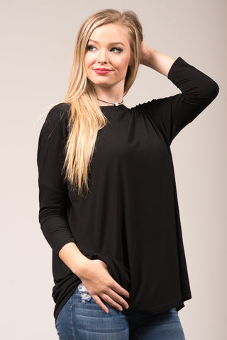 Piko Perfect 3/4 Sleeve Top in Black