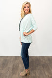 Piko Perfect 3/4 Sleeve Top in Mint