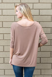 Piko Perfect 3/4 Sleeve Top in Mocha