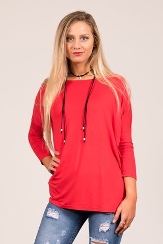 Piko Perfect 3/4 Sleeve Top in Red