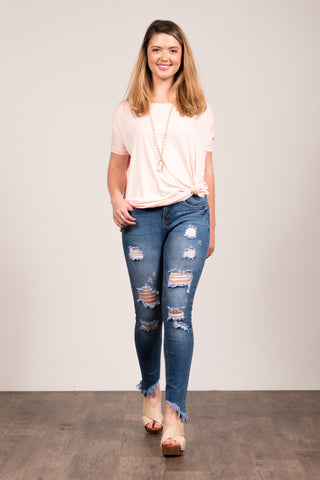 Piko Knot Top in Blush
