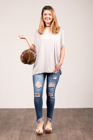 Piko Knot Top in Harbor Mist