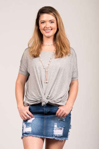 Piko Knot Top in Heather Grey