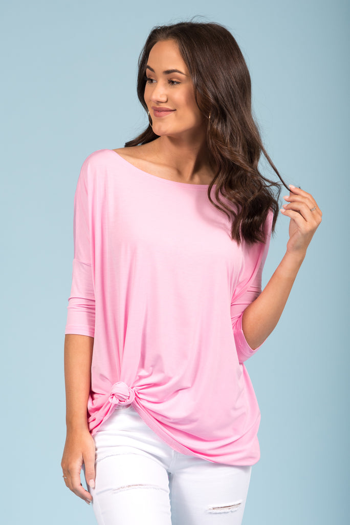 Piko Perfect 3/4 Sleeve Top in Light Pink