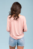 Piko Perfect 3/4 Sleeve Top in Peach