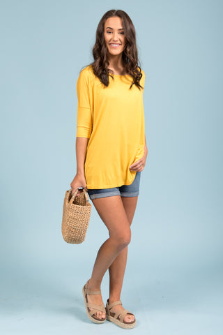Piko Perfect 3/4 Sleeve Top in Yellow