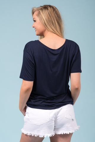 Piko Short Sleeve in Navy (V-Neck)