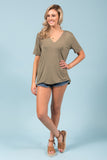 Piko Short Sleeve in Olive Moss (V-Neck)