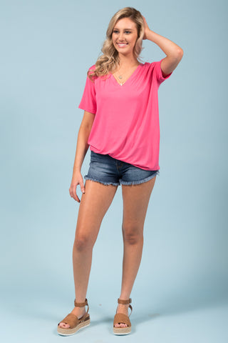 Piko Short Sleeve in Pink (V-Neck)