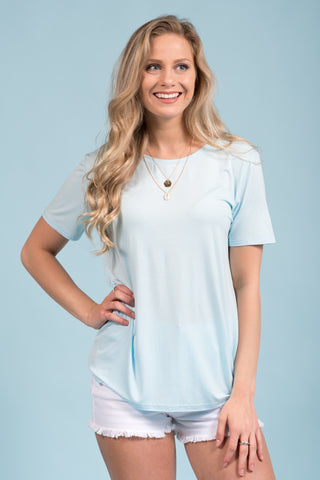 Piko Short Sleeve in Light Blue (Crew Neck)