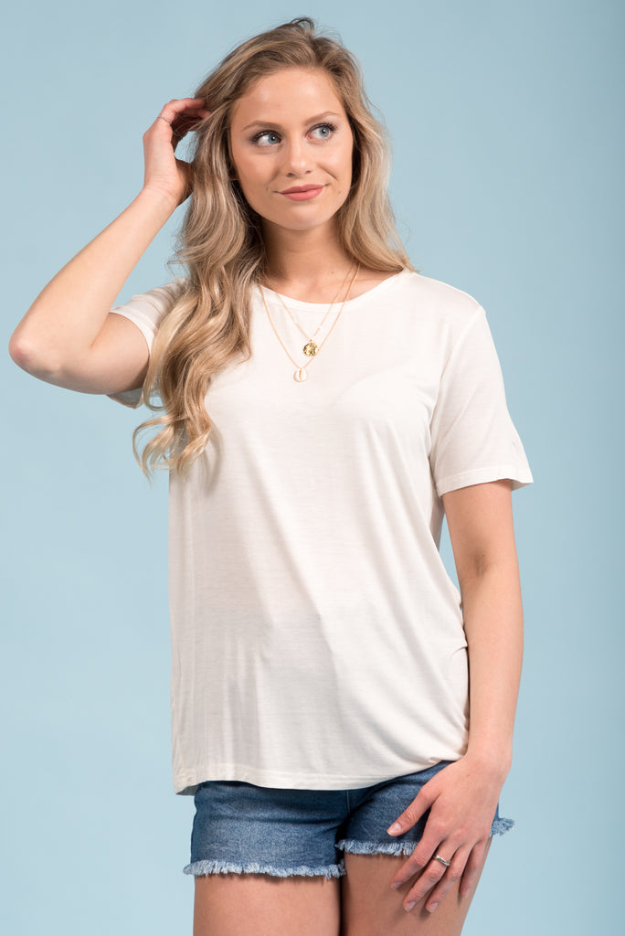 Piko Short Sleeve in Off White (Crew Neck)