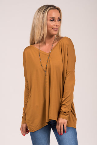 Piko Perfect V-neck Top in Mustard