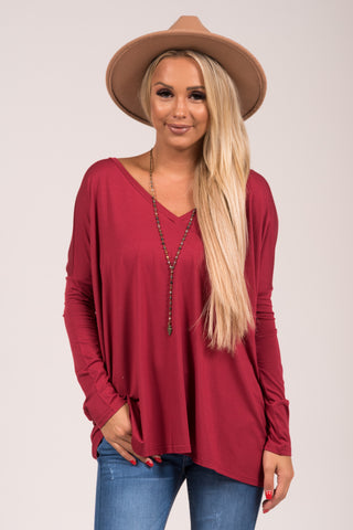 Piko Perfect V-neck Top in Wine
