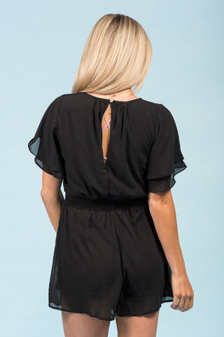 Stay Awhile Romper in Black
