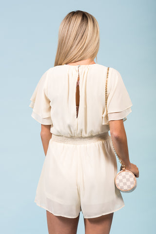 Stay Awhile Romper in Cream