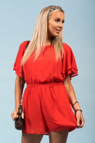 Stay Awhile Romper in Tomato
