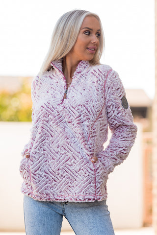 Simply Southern Sherpa Pullover in Maroon