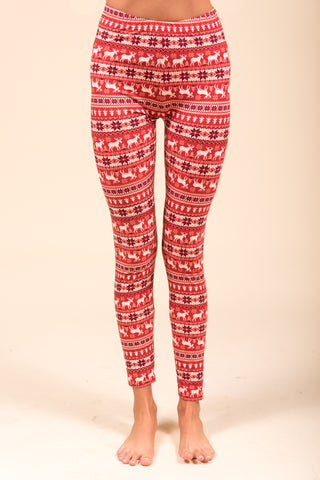 Falala Leggings in Red Reindeer