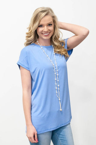 Piko Cap Sleeve in Serenity (Crew Neck)