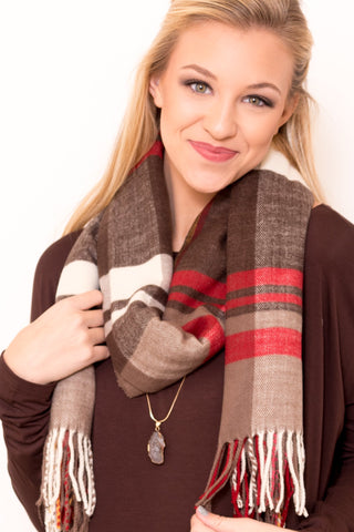 Back to December Scarf in Red/Brown