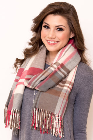 Back to December Scarf in Pink/Cream